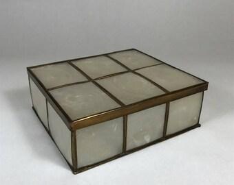 "Vintage 6"" Capiz Shell Jewelry or Dresser Box"