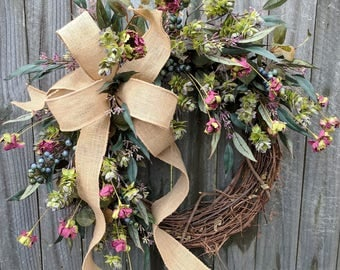 Wreath, Wreath Great for All Year Round, Everyday Burlap Wreath, Door Wreaths, Front Door Wreath, Plum, Blue, Hops, All Year Long Wreath