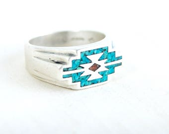 Southwestern Biker Ring Size 10 Vintage Oval Chip Turquoise and Red Coral Rockabilly Statement Band