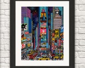 Heart of the world  Times square New York/Times square New York/ Times Square Art Print/New York Art Print