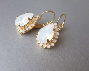 Opal gold bridal earrings, Swarovski crystal white opal bridal earrings, Drop earrings, White opal earrings in gold, silver, rose gold