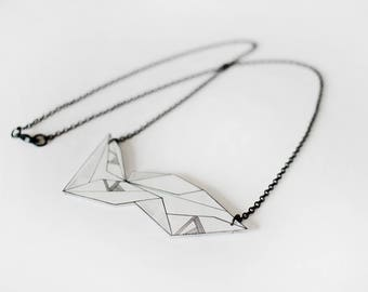 Geometric Necklace, monochrome jewellery, black and white jewelry, unique shrink plastic necklace, metal chain jewelry, nickel free