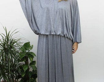 1970s John Charles Silvery Blue Maxi Gown Size UK 10, US 6, EU 38