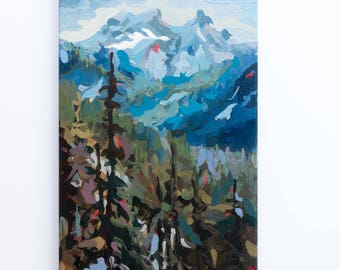 "Original Painting // Sky Pilot - Squamish BC // 12"" x 24"" // Acrylic Paint on Canvas by Joanne Hastie"