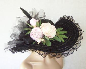 Tea Party Hat - Ladies Black Hat -Kentucky Derby Hat, Garden Party Hat or Victorian Tea Party