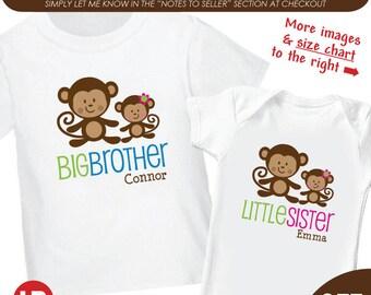 Monkey Big Brother Shirt & Monkey Little Sister Shirt or Bodysuit - 2 Personalized Matching Sibling Shirts - Monogram Baby Shower Gift