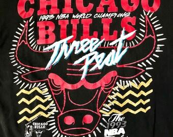 Vintage 1993 Chicago Bulls NBA World Champions Three Peat Finals Michael Jordan T Shirt Sz M