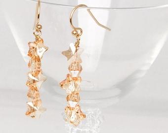 Swarovski Crystal Star Earrings - Gold Star Earrings - Holiday Earrings - New Year Earrings - Holiday Gift Earrings - Sparkly Star Earrings