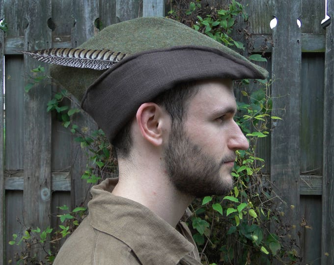 Medieval Robin Hood Hat, Woodsman, Green Wool, Brown Linen Lining - Deluxe