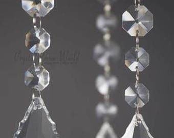 6pc French Cut Center Diamond Hanging Crystal Wedding Pendant Decoration(6in) Centerpiece