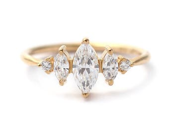 Marquise Diamond Ring, Art Deco Engagement Ring, Cluster Engagement Ring, Three Diamonds Ring, 0.5 Carat Diamond Ring, Marquise Cut