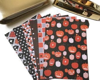 Set of 6 Halloween Planner Dividers // A5 or Personal Planner Dividers // A5 Dividers // Personal Dividers // Halloween Planner