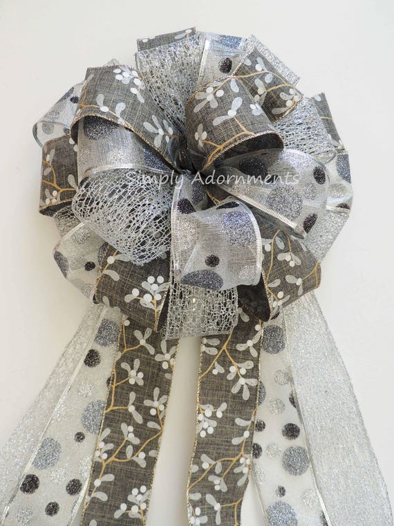 White Grey Silver Christmas Tree Topper Bow Pewter Silver Dots Christmas Topper Bow Large Wreath Bow Pewter Silver Winter Wedding Decoration