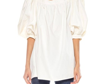White Puffy Shirt Withopen Back Size: