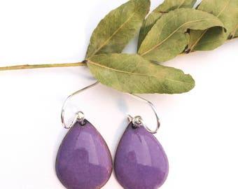 Purple Earrings, Handmade Earrings, Purple Enamel, Purple Glass, Dangle Earrings, Drop Earrings, Boho Earrings, Gift for Her, Minimalist