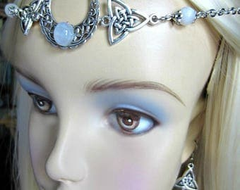 Rainbow Moonstone Crescent Circlet, Triquetra Headpiece, Choice of Triquetra Earrings