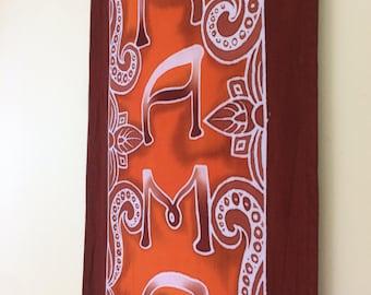 Namaste Hand painted batik yoga decor room altar meditation wall hanging healing