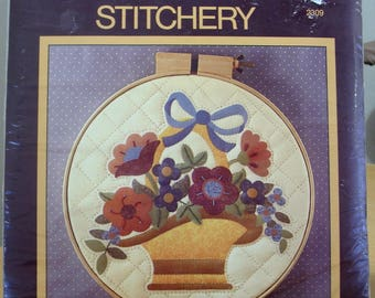 FREE SHIPPING! Sunset stitchery 1984 Americana Flower Basket quilted embroidery kit. Hoop not included.