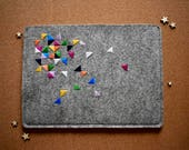 Merino Felt Wool MacBook Pro Case MacBook Pro sleeve with Graphic Embroidery Detail