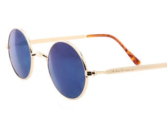 John Lennon vintage golden retro oval sunglasses with blue mirrored lenses, 1980s made in Italy new old stock