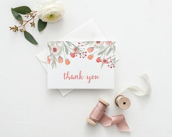 Thank You Cards for Wedding Thank You Cards for Bridal Shower Couples Gift Idea Watercolor Thank You Card