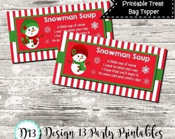 INSTANT DOWNLOAD Girl Snowman Soup Christmas Treat Bag Topper Digital Printable