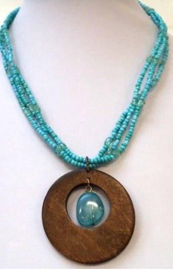Wonderful Mid Century Style MODERN Estate SIGNED NY Turquoise Glass Beads & Wood Medallion Pendant Necklace