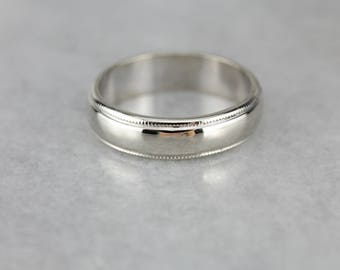 Milgrain White Gold Wedding Band Ring C8CL09-R