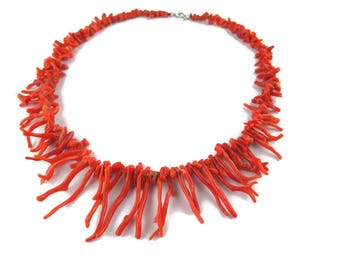 Branch Coral Bib Necklace / Undyed  Antique Italian Coral Choker/Natural Mediterranean Branched Coral Necklace/Graduate Red Salmon Coral