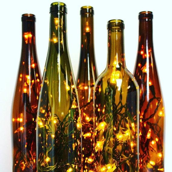 Two Recycled Wine Bottle Lights Wine Bottle