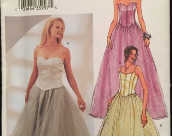 Butterick Wedding, Evening, Prom, Bridesmaid Gown,Top w Strapless Sweetheart or Spaghetti Strap,Full Skirt w Overlay Size 12-16 Pattern 3706