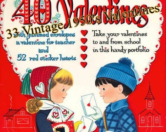 33 Vintage 1950's Valentines Ephemera Kit, Journals,  Journal Card, Glue Book, Mixed Media, Digital Download, PDF Instant