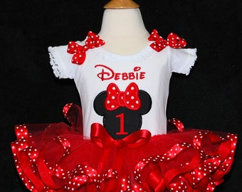 Minnie Mouse First Birthday Girl's Tutu Outfit, 1st birtthday girl outfit, 1st birthday tutu dress, minnie mouse 1st birthday outfit, tutu