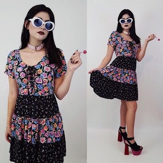 90's Black Floral Rose Print Romantic MiniDress Size Small - Rainbow Flower All Over Print Cotton Ruffle Dress - Summer Short Sleeve Mini