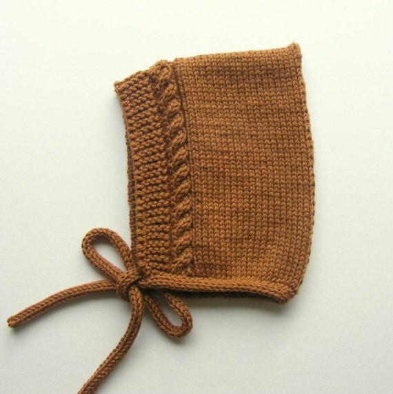 Merino Wool Cable Knit Pixie Hat in Toffee
