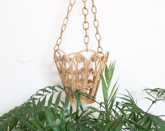 Vintage Hanging Planter Basket Pot Cord Basket Boho Bohemian Jungalow