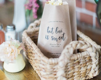 50 Paper Bags - Life is Salty but Love is Sweet - Kraft Wedding Favor Paper Bags