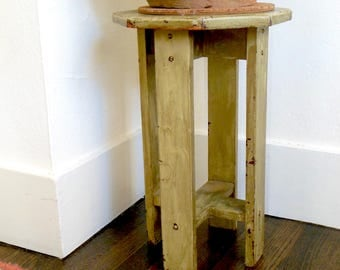 Vintage Plant Stand Mission Style Side Table Shabby Chic