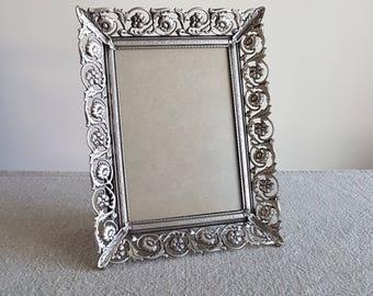 "5"" X 7"" silver metal picture frame, ornate filigree floral design // Hollywood regency photo frame, wedding signs, centerpieces, 8 x 11 cm"