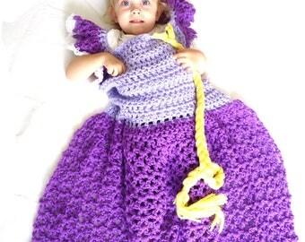 Princess Dress Blanket Pattern, Crochet Dress Blanket, Rapunzel Dress Blanket Crochet Pattern, Rapunzel Blanket Pattern, Blanket Dress pdf