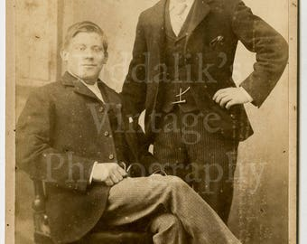 Cabinet Card Photo Victorian 2 Young Handsome Smart Dapper Men Brothers (?) Portrait by Calvert of London England - Antique Photograph