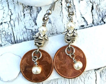 Bahama Coin Starfish Earrings, StArFiSh Jewelry, COIN EARRINGS, CoIn JeWeLrY, Repurposed EaRRings, CoPPer Coin, Bahamas, Beach JeWElry