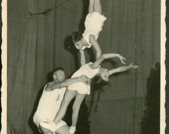 Vintage Photo of Three Acrobats 1950's, Original Found Photo, Vernacular Photography
