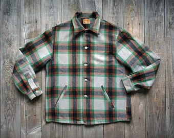 Vintage 50s Chippewa Woolen Mills Wool Plaid Shirt - Heritage Hunting Flannel Shirt Jacket - Made in USA