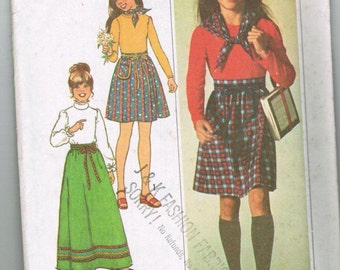 Simplicity 7732 Girls Skirt in two lengths, Top and Scarf Size 10 UNCUT