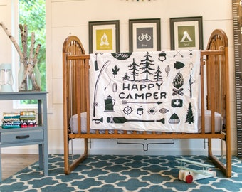 Baby blanket – Happy camper, outdoors, camping, explore, adventure – black, white, grey, cuddle, modern, handmade, unique, play mat