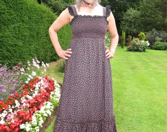Vintage 1970s Black Floral Candi Jones California Country Dancing Maxi Sundress with Smocked Elasticated Bust and Ruffle Shouldes and Hem