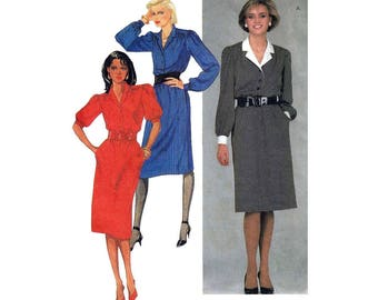 "Women's Pullover Dress Sewing Pattern, Elbow-length or Long Sleeves, Misses' Size 14 Bust 36""  McCall's 8656"