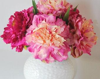 Pink Peonies Silk Floral Arrangement, centerpiece - White Ceramic Vase