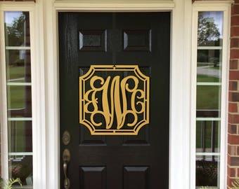 Metal MONOGRAM door WREATH, Initial wreath, Front Door Wreaths,Monogrammed Wreath, Monogram Wall Letters, Metal Monograms, Monogrammed gifts